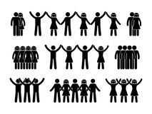 Stick figure group people icon. Vector illustration of crowd pictogram on white Stock Photos