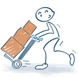 Stick figure with hand truck and packages Stock Photos