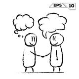 Stick figure handshake 2 man with speak and dream bubble stock illustration