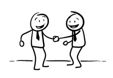 Stick Figure Handshaking Royalty Free Stock Images