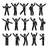Stick figure happiness, celebration, motion businessman set. Vector illustration of celebration poses black and white pictogram. Stick figure happiness Stock Image