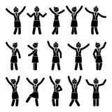 Stick figure happiness, celebration, motion woman set. Vector illustration of celebration poses black and white pictogram. Stick figure happiness, celebration Royalty Free Stock Image