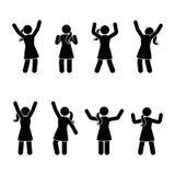 Stick figure happiness, freedom, jumping, motion set. Vector illustration of celebration poses pictogram. Stick figure happiness, freedom, jumping, motion set Royalty Free Stock Photos