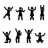 Stick figure happiness, freedom, jumping, motion set. Vector illustration of celebration poses pictogram. Stick figure happiness, freedom, jumping, motion set royalty free illustration