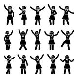 Stick figure happiness, freedom, motion woman set. Vector illustration of celebration poses black and white pictogram. Stick figure happiness, freedom, motion Stock Images