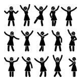 Stick figure happiness, freedom, winner woman set. Vector illustration of celebration poses black and white pictogram. Stick figure happiness, freedom, winner Royalty Free Stock Images