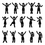 Stick figure happiness, hands up, motion woman set. Vector illustration of celebration poses black and white pictogram. Stick figure happiness, hands up, motion Stock Photography