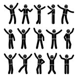 Stick figure happiness, winner, motion businessman set. Vector illustration of celebration poses black and white pictogram. Stick figure happiness, winner Stock Image