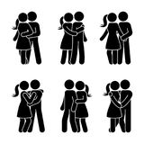 Stick figure happy couple embrace one another. Man and woman in love vector illustration. Stick figure happy couple embrace one another. Man and woman in love Stock Photos