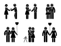 Stick figure happy couple with gift. Man and woman in love vector illustration. Boyfriend and girlfriend hugging, giving present and holding hands pictogram Royalty Free Stock Image