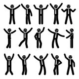 Stick figure happy, funny, motion businessman set. Vector illustration of celebration poses black and white pictogram. Stick figure happy, funny, motion Royalty Free Stock Photo