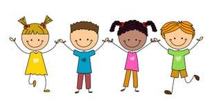 Stick figure happy kids royalty free illustration