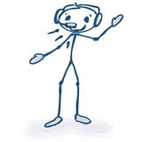 Stick figure with headset Stock Images