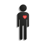 Stick figure with heart Stock Photos
