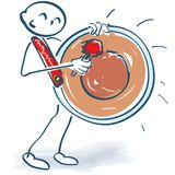 Stick figure hitting a huge  kettle drum Stock Image