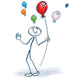 Stick figure holding balloons in the air. And fun Stock Photography