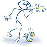 Stick figure holding a flower and hay fever. Stick figure holding with a flower and heavy hay fever stock photography