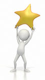 Stick figure holding up gold star. A white stick figure holds up a gold star on a white background.  A success, or reaching a dream concept. Clipping path Stock Image