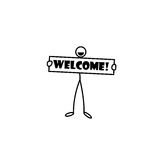 Stick figure holding welcome sign. Stick figure man holding welcome sign Stock Image