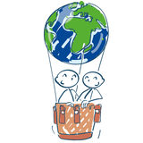 Stick figure in a hot air balloon as a world ball Stock Images