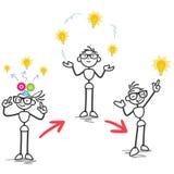 Stick figure idea process development Royalty Free Stock Photography