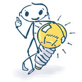 Stick figure with ideas and light bulb. Stick figure with ideas, light Stock Photo