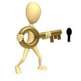 Stick Figure Inserting Key. Stick Figure inserting gold key into a black key hole on a white background. Clipping path included Royalty Free Stock Photos