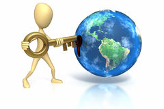 Stick figure inserting key into world. Stick figure inserting key into a hole on the side of the world on white background. Clipping path included Royalty Free Stock Photos