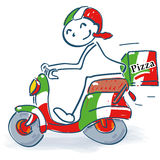 Stick figure with an Italian scooter delivering pizza. Stick figure with an Italian scooter delivering delicious pizza royalty free stock photography