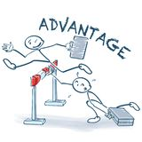 Stick figure jumps with an advantage over a hurdle Stock Photography