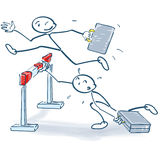 Stick figure jumps better over a hurdle than others. People Royalty Free Stock Image