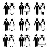 Stick figure just married groom and bride set. Vector illustration of happy newlyweds on white Stock Photo