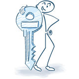 Stick figure with a key Royalty Free Stock Photography