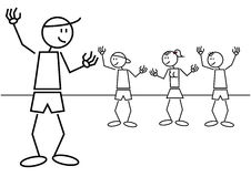 Stick figure kids greetings Stock Photo