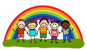 Rainbow kids. Stick figure kids.Happy kids.Rainbow kids stock illustration