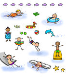 Stick figure kids swimming. Sheet of stick figure children swimming and having fun at the swimming pool and beach Stock Image