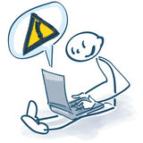 Stick figure with laptop and call sign. Stick figure with laptop and yellow call sign Royalty Free Stock Image