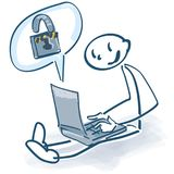 Stick figure at a laptop and  password lock Stock Photo