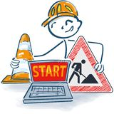Stick figure with laptop a street cap and construction sign with start royalty free illustration