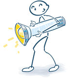 Stick figure with a large flashlight Royalty Free Stock Photo