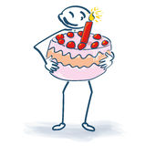 Stick figure with a large sweet pie Stock Images