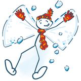Stick figure lies as a snow angel in the snow. And having fun Stock Images