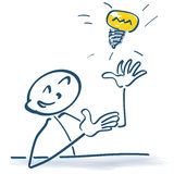 Stick figure with light bulb. In the air Royalty Free Stock Photos
