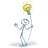 Stick figure with light bulb on a stick Royalty Free Stock Image