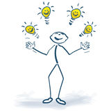 Stick figure with light bulbs of ideas Stock Image