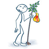Stick figure with a little pear tree Stock Images