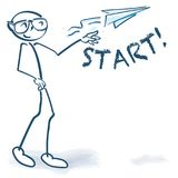 Stick figure with starting paper flyer. Stick figure with a little starting paper flyer Stock Images