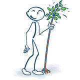 Stick figure with a little tree. And planting Stock Image