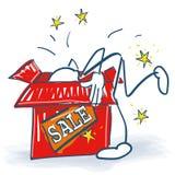 Stick figure looks deep into a box with sale. Stick figure looks deep into a box for sale Stock Images