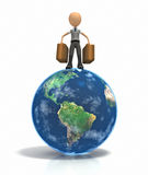 Stick figure with luggage on top of earth Stock Image